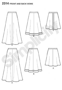 2314 Simplicity Pattern: Misses' Skirts